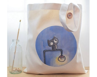 canvas tote bag, eule, owl bag, everyday carry, bird print, white and blue,whimsical owl gift,gift for men, boy gift, cotton, beilexian