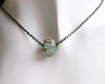 Boro Glass Bead Necklace Brass Chain, Minimalist Necklace, Borosilicate Bead Jewelry, Glass Bead Necklace, Single Bead Necklace, Copper Bead