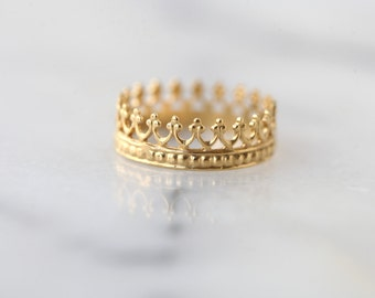"""Gold crown ring, wedding ring. engagement band. """"Tea time""""  vermeil band.  22k gold over silver"""