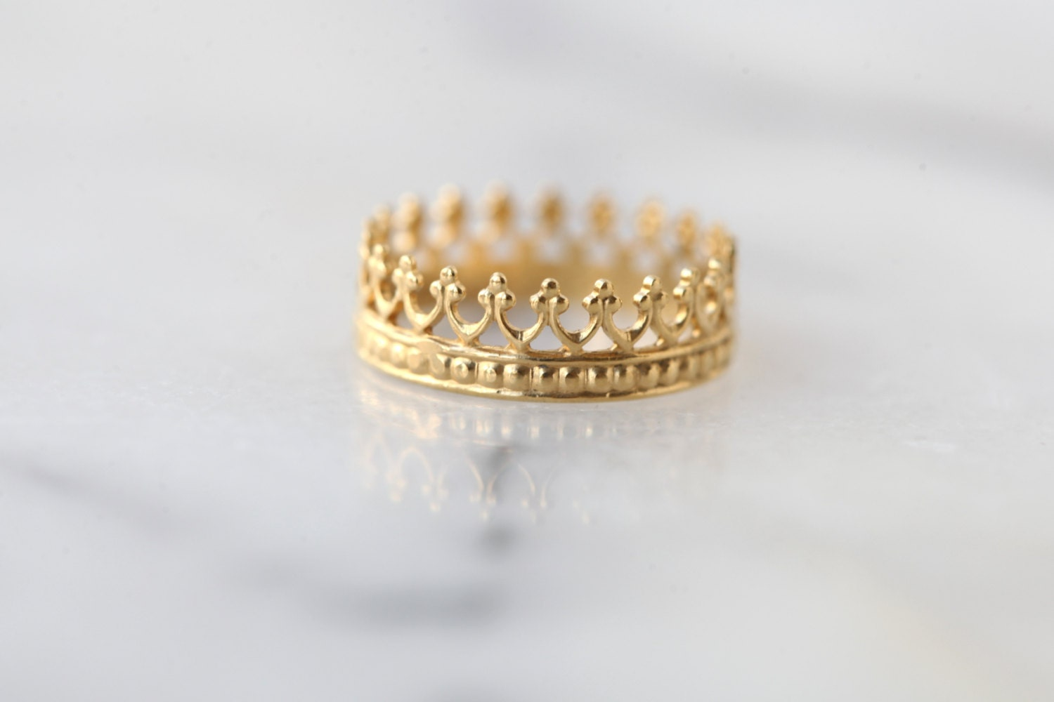 gold crown ring wedding ring engagement band tea