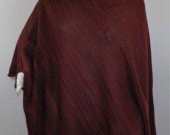 Handmade Knit Poncho - Maroon and Brown Random Stripes