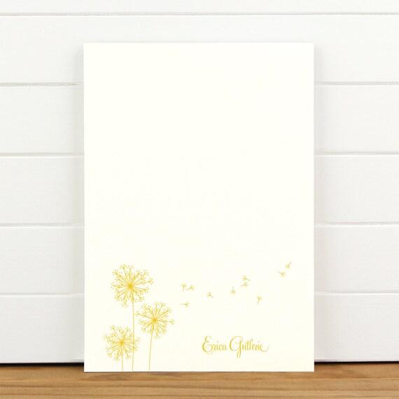 BREEZE Personalized Notepad - Dandelion Feminine Teacher Letterhead