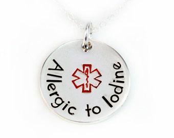 Medical Alert Necklace, Medical ID Necklace, Med Alert Jewelry, Medical Jewelry, Handstamped Sterling Silver