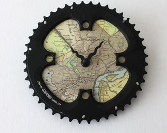 Philadelphia Map Bicycle Clock  |  Size M | Map Clock  |  Vintage Map Clock  |  Bike Gear Clock