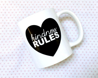 Kindness Rules Ceramic Coffee Mug - 11oz - made in the USA - Text Mug with Heart - Gift for Her under 15 - Gift for Mom, Hippie, Love, Peace