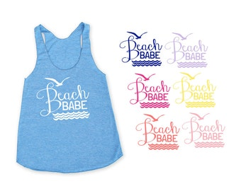 Beach Babe Heather Blue TriBlend Racerback Tank Top - Family Photos, Vacation, Beach Day, Waves, Ocean, Surf, Summer