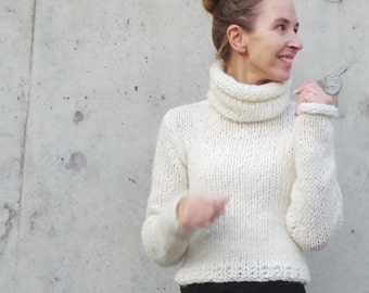 ivory polo neck sweater, women's pullover, women's sweater, ivory sweater, poloneck sweater,  READY TO SHIP in size small