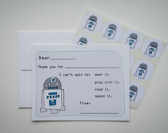 R2D2 Fill in the Blank Thank You Note Stationery Set with Stickers