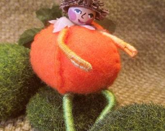 Miniature Pumpkin Fairy Doll