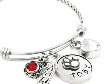 Dog Memorial Bangle Bracelet with Urn, Custom Pet Engraved Name, Pet Birthstone, Pet Loss Bangle, Heart Cremation Urn