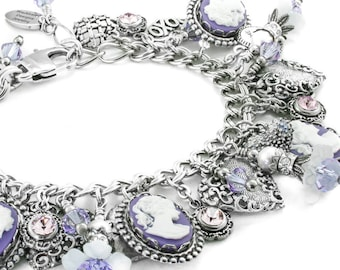 Silver Cameo Charm Bracelet, Amethyst Cameo, Flowers and Pearls, Vintage Inspired Cameo Jewelry