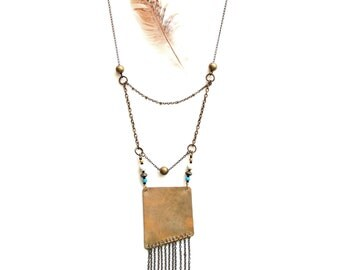 Long Asymmetrical Brass and Chain Fringe Necklace (P1799)