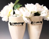 Custom made vase carved with a single name - Made to Order -