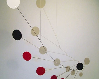 Mobile Hanging Art Circles Modern Sculpture Home Decore Calder Inspired Frith Mobiles Uplifter 19w x 23h