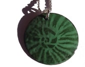 Handmade Copper Enamel Ammonite Necklace, Copper Enamel Circle, Enamel on Copper Ammonite Pattern Disc Necklace, Forest on Mint Green