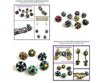 DiamonDuo Button GemDuo Tutorial SuperDuo Beaded Bead Beadweaving Pattern 2-hole Bead Earring .pdf Instructions for Personal Use