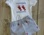 Personliazed Crawfish Boys Short Set - Faux Smocked Crawfish Shirt or Bodysuit with Handmade Crawfish Seersucker Shorts – Summer short set