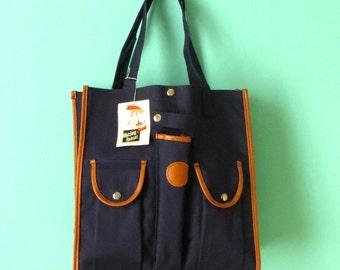 Navy & Leather Umbrella Bag // 1960's Shoulder Bag // Blue Cloth