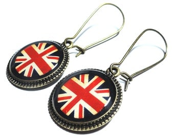 English Flag Earrings, Union Jack Earrings, UK Jewelry, Dangle Earrings, Handmade Jewelry, Resin Jewelry, Flag Earrings, Union Jack Jewelry