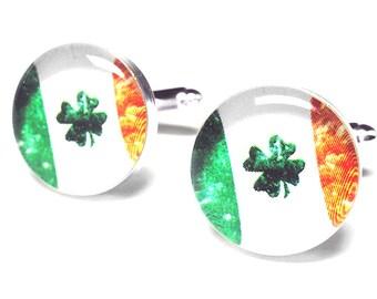 St. Patricks Day Gift, Irish Flag Cufflinks, Handmade Cufflinks, Mens Accessories, Gift for Him, Resin Cufflinks, Ireland, Lucky Shamrock