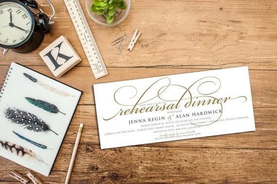 BUDGET PRINTABLE - Simple Script Rehearsal Dinner Invitation
