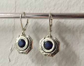 Eclipse Earrings in Sapphire and Sterling Silver