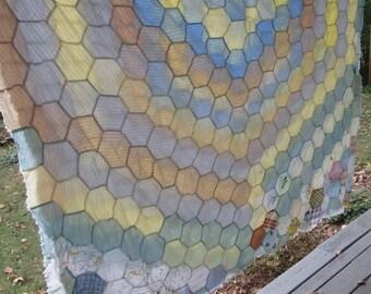 Vintage Hand Pieced Quilt Top - Honeycomb Quilt Top - Large Vintage Quilt Top
