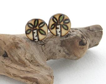 Wood Tree Stud Earrings, Surgical Steel Studs, Tree Earrings, Nature Jewelry, Wood Burned Jewelry, Gifts for Girls, Little Girl Earrings