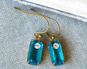 Aqua blue rhinestone dangle earrings/ art deco earrings /small earrings. Tiedupmemories