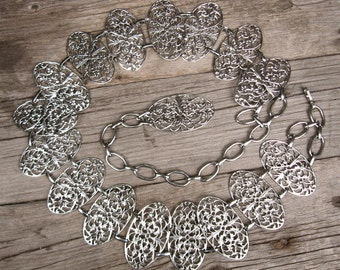 Chain Belt 70s Vintage Belt Silver Filigree Boho Chic Hippie Belt S-M-L