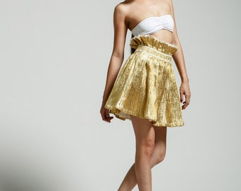 Gold Ruffle Twirl Metallic Skirt