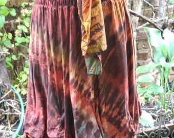 Hippie tie dye skirt gathered hem tube top waist brown orange earthtones tie waist