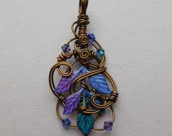 Fairy Leaves Pendant -- Purple, Blue, Teal Leaves, Wire Swirls, Antique Brass Wire, Swarovski Crystals -- Hand Colored Brass