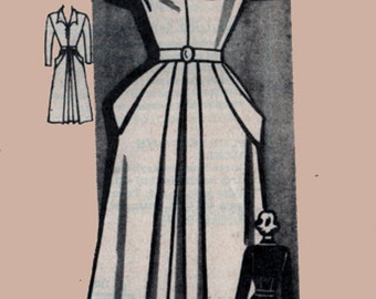 1940s V Neckline Dress Pattern w/ Front Pleat With Side Pockets Wing Cuffs Marian Martin Mail order pattern 9215 Size 12 Bust 30