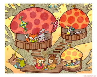 Woodland Animal Treehouse 8x10 or 5x7 Illustration Print