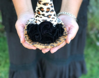 Witch Hat Fascinator,  Leopard Witches Mini Hat, Halloween Costume