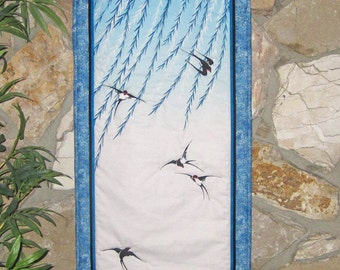 Quilted Wall Hanging Swallows and Willows Japanese Asian Design Tenugui Scroll Size