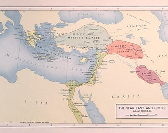 The Near East and Greece - 1957 Vintage Map - Vintage Atlas Page - Rand McNally Map - Colored Map - 11 x 7