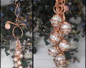 Glass & Copper Wind Chimes / Gypsy Windchime Garden Art Suncatcher Yard/Lawn/Outdoor Decor