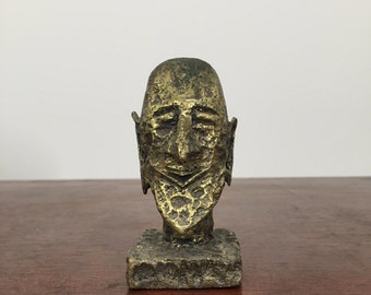 1970s Small Brass Head Sculpture Signed CH