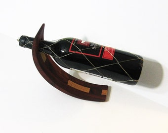 Amazing Balancing Wine Bottle Holder Made Of Two Woods