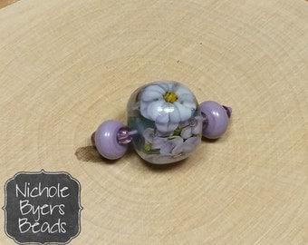 Lavender Violet Encased Floral Handmade Lampwork Glass Focal Bead