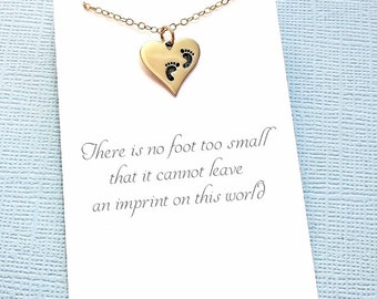 Miscarriage Necklace | Footprint Heart Necklace, Sympathy Gift, Condolence, Infant Loss Jewelry, Loss of a Child, Miscarriage Quote | R05