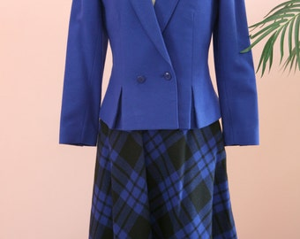 Royal Blue Three Piece Suit, Ladies Blue Suit, Business Attire, Blue Suit, Size 5/6 Suit, Plaid Skirt, Ladies Blue Wool Suit
