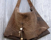 Rustic Steer Hide Leather Bag with Antler Beads by Stacy Leigh