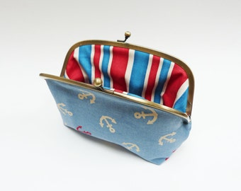 Cosmetic bag, red white and blue anchor fabric, cotton purse