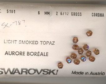 12 Vintage Swarovski Light Smoked Topaz AB Art 5101 6mm Crystal Beads DESTASH SC078