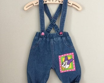 80s 90s Girls Daisy Duck Jean Overalls 6-9 Months