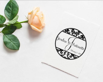 Damask Monogram rubber stamp personalized with name and monogram initial --5587