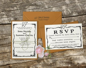 Wedding invitation rubber stamp with typewriter font and simple heart with initials --13004-MULT-000